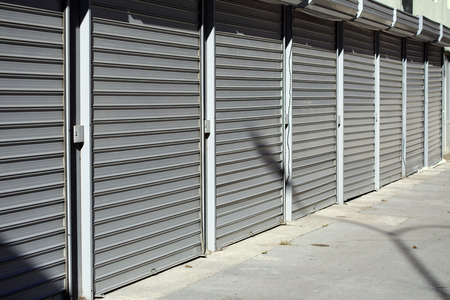 corrugated metal doors of garages