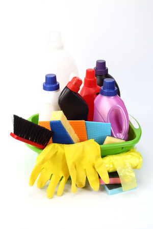 Household chemical goods for cleaning on white