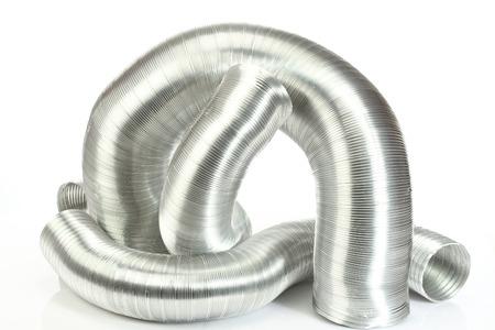 aluminium air tubes on white Imagens - 26664746