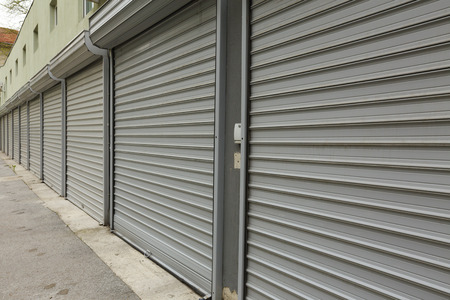 security shutters:  corrugated metal doors of garages