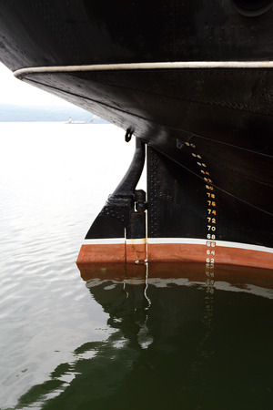 keel:  the keel of sea ship close up