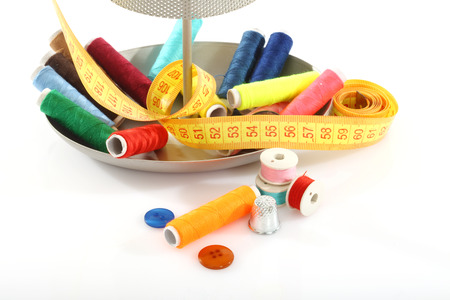 sewing supplies: Colorful sewing supplies close up
