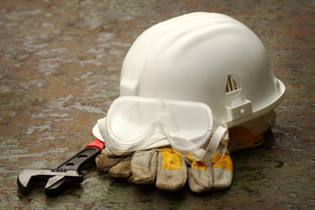 safety gear: Safety gear close up on work place