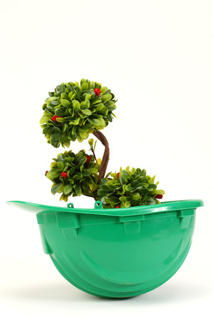 Green plant in green  helmet on white - environmental friendly industry concept