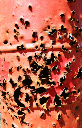 bullet holes in an old barrel of fuel Stock Photo