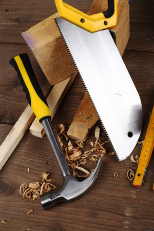 carpenter's bench: carpenters tools close up on work bench