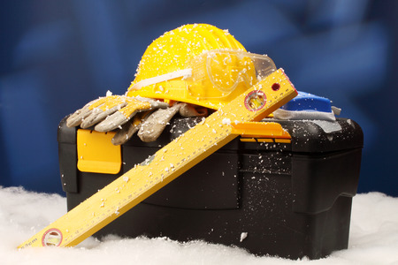 protective equipment: Safety New Year- protective equipment on artificial snow