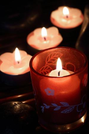tea candles: Burning tea candles close up, with selective focus