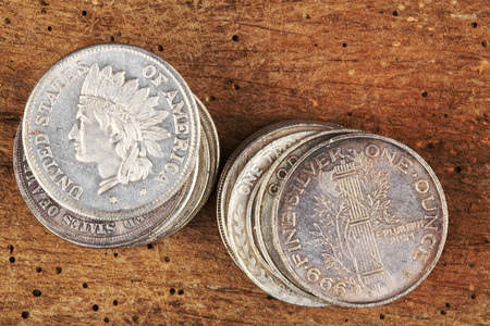 monete antiche: Stack of fake old coins