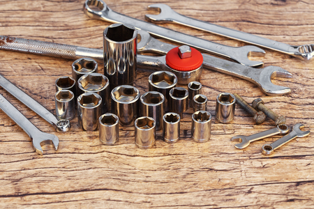 socket wrench set on work table Stock Photo