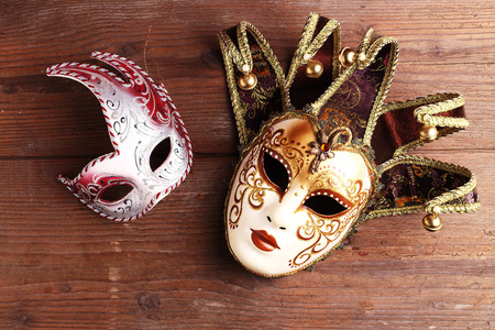 two carnival masks close up Stock Photo