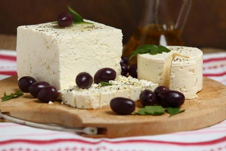 healty: White brined feta cheese, close up