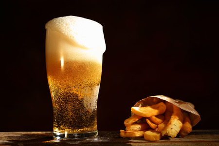 mug of beer and french fries
