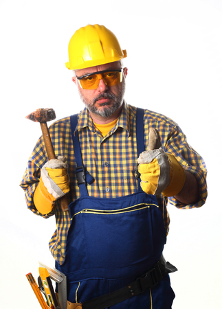 worker with hammer thumb up