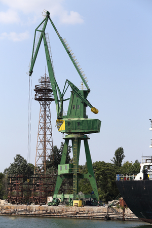 Loading crane in an industrial port