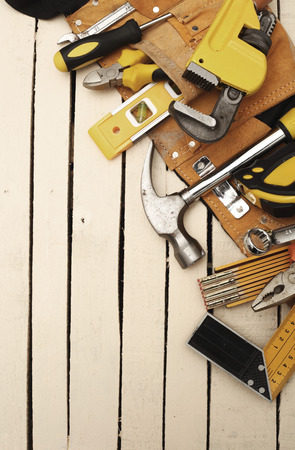 Tool belt with hand tools background