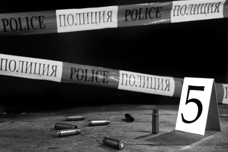 scene of criminal investigation collect evidance, black and white