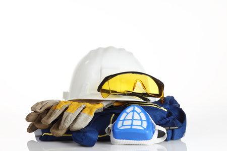 safety equipment on white background