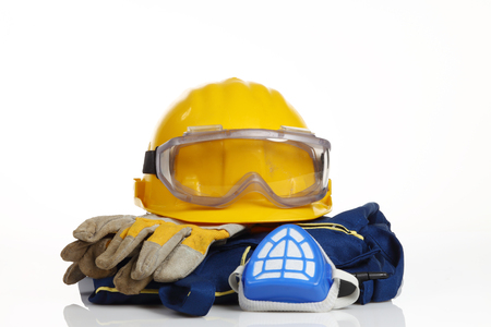 safety equipment on white background