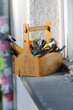 wooden toolbox and hand tools Imagens