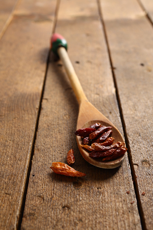 small dry chillies in wooden spoon. shallow dof
