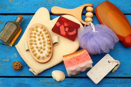 spa and massage items, top view Imagens