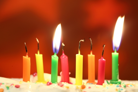 Eight  birthday candles close up, shallow dof
