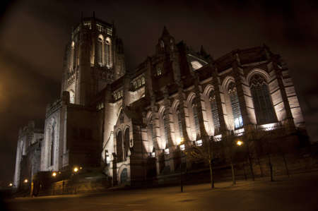 liverpool: Liverpool Anglican Cathedral at Night Stock Photo