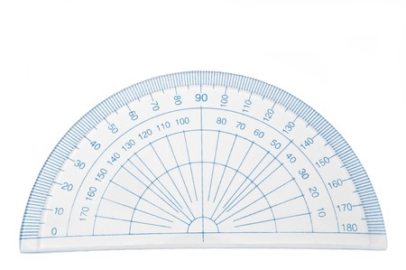millimetres: Close up of a plastic geometry protractor arranged over white.