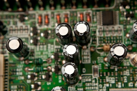 Close up capturing a portion of printed circuit board. photo