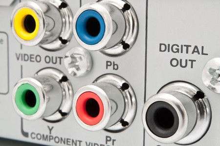 audiovisual: Close up of jack sockets on the rear of an electronic device. Stock Photo