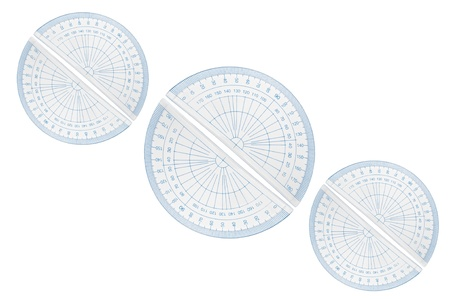 millimetres: Several blue plastic protractors arranged in formation over white.