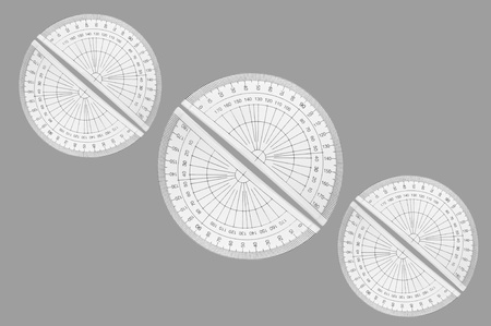 millimetres: Several plastic protractors arranged in formation over light grey. Stock Photo