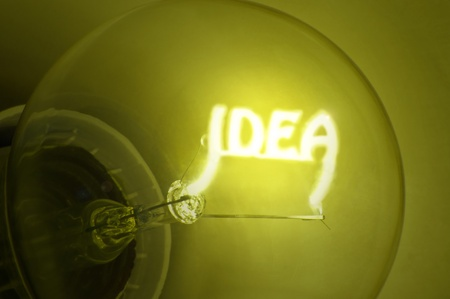 Close up of yellow illuminated light bulb filament spelling the word  photo
