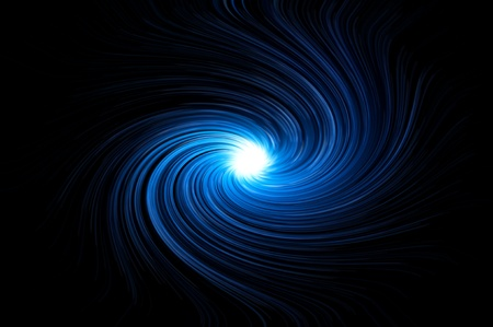 warp speed: Abstract blue swirling light against black background. Stock Photo