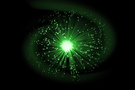 light emitting: Illuminated green fibre optic light strands against an abstract blue swirl with black background.