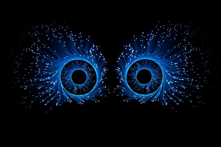 Two blue eyes composed from illuminated fibre optic light strands against a black background. Stock Photo - 8949532