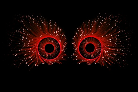 Two eyes composed from many illuminated red fibre optic light strands against a black background. Stock Photo - 8949530