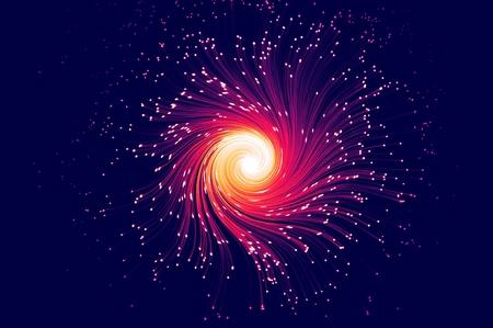 Many multicoloured illuminated fiber optic light strands swirling against a blue background Stock Photo - 8949531