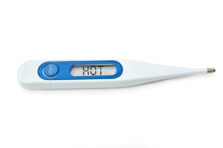 A single digital thermometer with display reading HOT. White background. photo