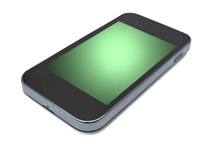 touch screen phone: Close and low level capturing a single unbranded smart phone with green screen. White background Stock Photo