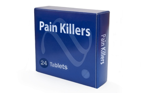 pain killers: A single blue medicine pack with the words Pain Killers and arranged over white.