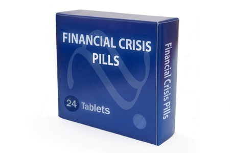 worries: A single blue medicine pack with the words Financial Crisis Pills and arranged over white.