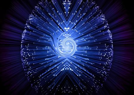 fibra óptica: Cerca de los extremos de muchos iluminados fibra azul hebras óptica con luz strand remolinos en el centro. Negro y violeta Desenfocar el fondo. Foto de archivo