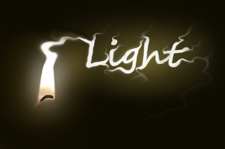 Close up on a single ignited candle wick with white flame morphing into the word  Stock Photo - 11104569