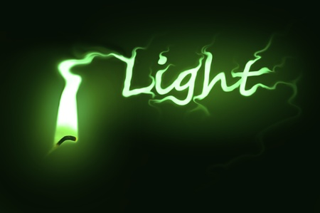 ignited: Close up on a single ignited candle wick with green flame morphing into the word