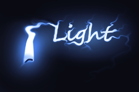 Close up on a single ignited candle wick with blue flame morphing into the word Stock Photo - 11104571