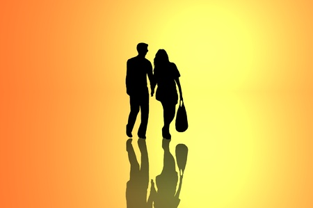 sillhouette: A silhouetted young couple walking on reflective surface towards a bright yellow light with warm golden background.