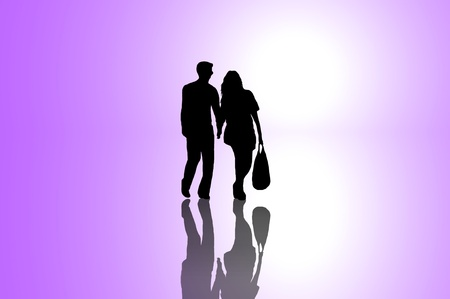 sillhouette: A silhouetted young couple walking on reflective surface towards a bright light with violet background.