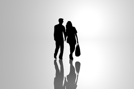 sillhouette: A silhouetted young couple walking on reflective surface towards a bright light with grey background.